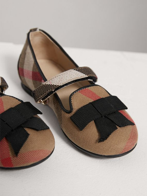 Bow Detail House Check Ballerinas in Classic | Burberry - cell image 3