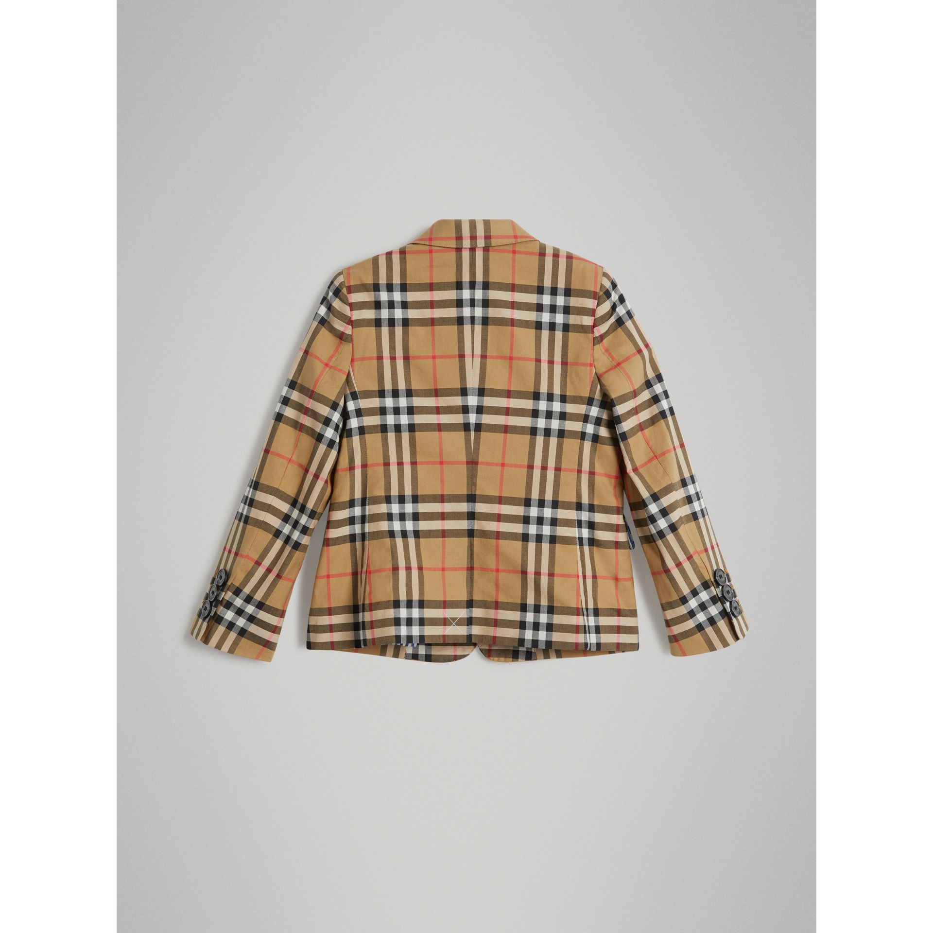 Vintage Check Cotton Blazer in Antique Yellow | Burberry Australia - gallery image 3