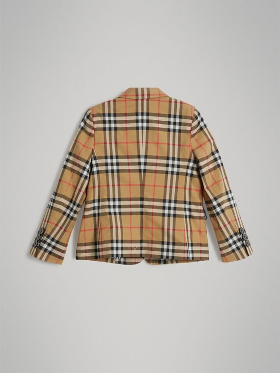 Vintage Check Cotton Blazer in Antique Yellow - Boy | Burberry - cell image 3