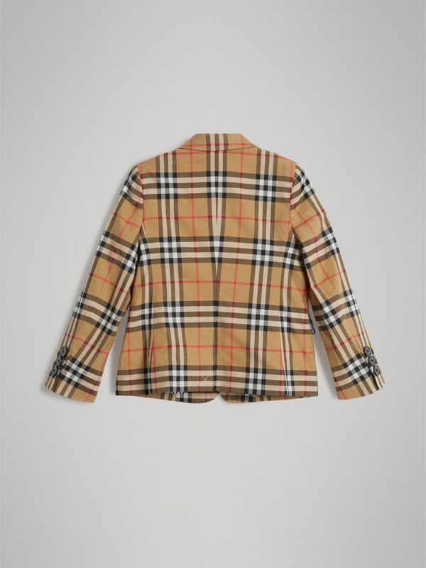 Vintage Check Cotton Blazer in Antique Yellow | Burberry Australia - cell image 3