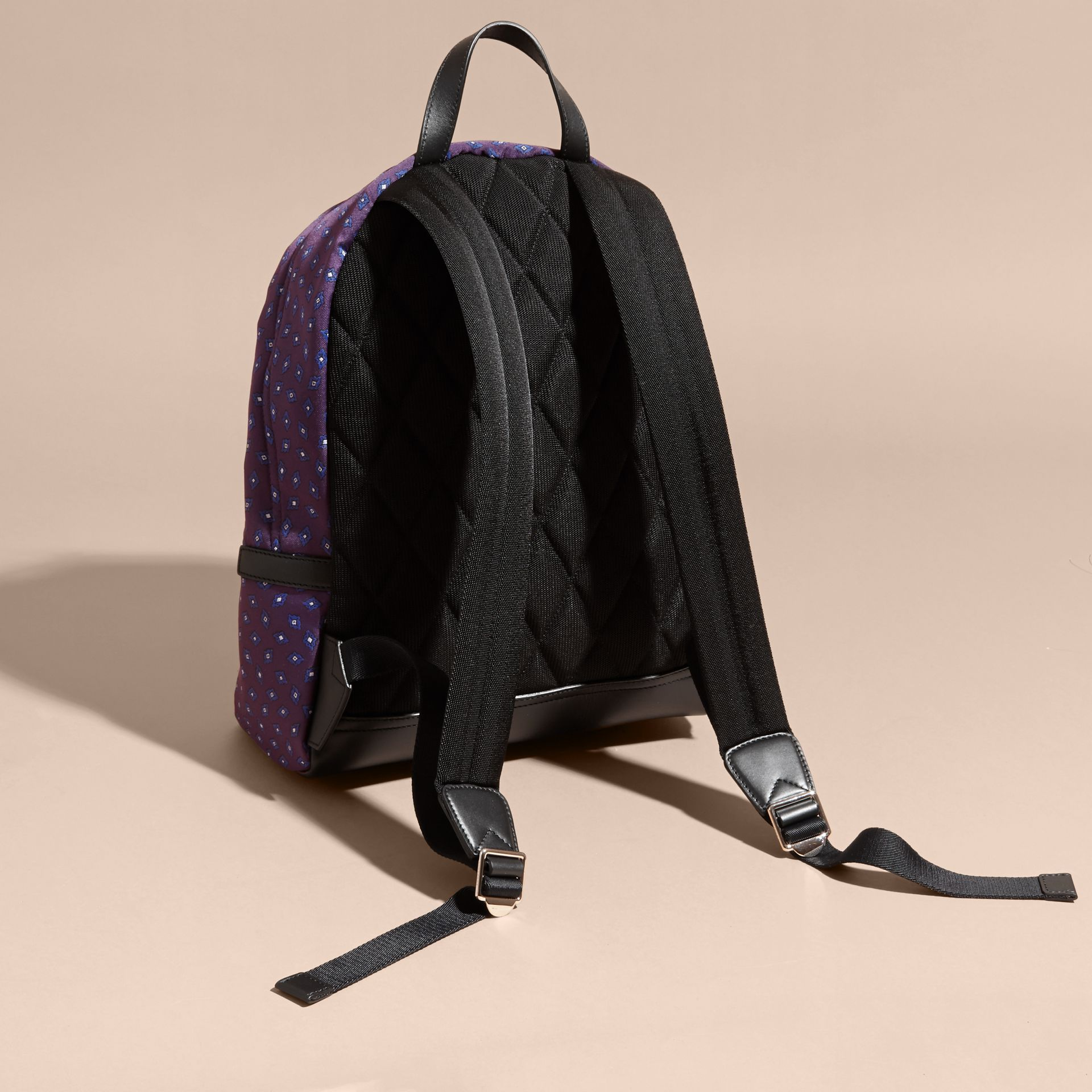 Deep aubergine Leather Trim Tile Jacquard Backpack - gallery image 4