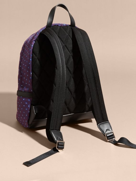 Deep aubergine Leather Trim Tile Jacquard Backpack - cell image 3