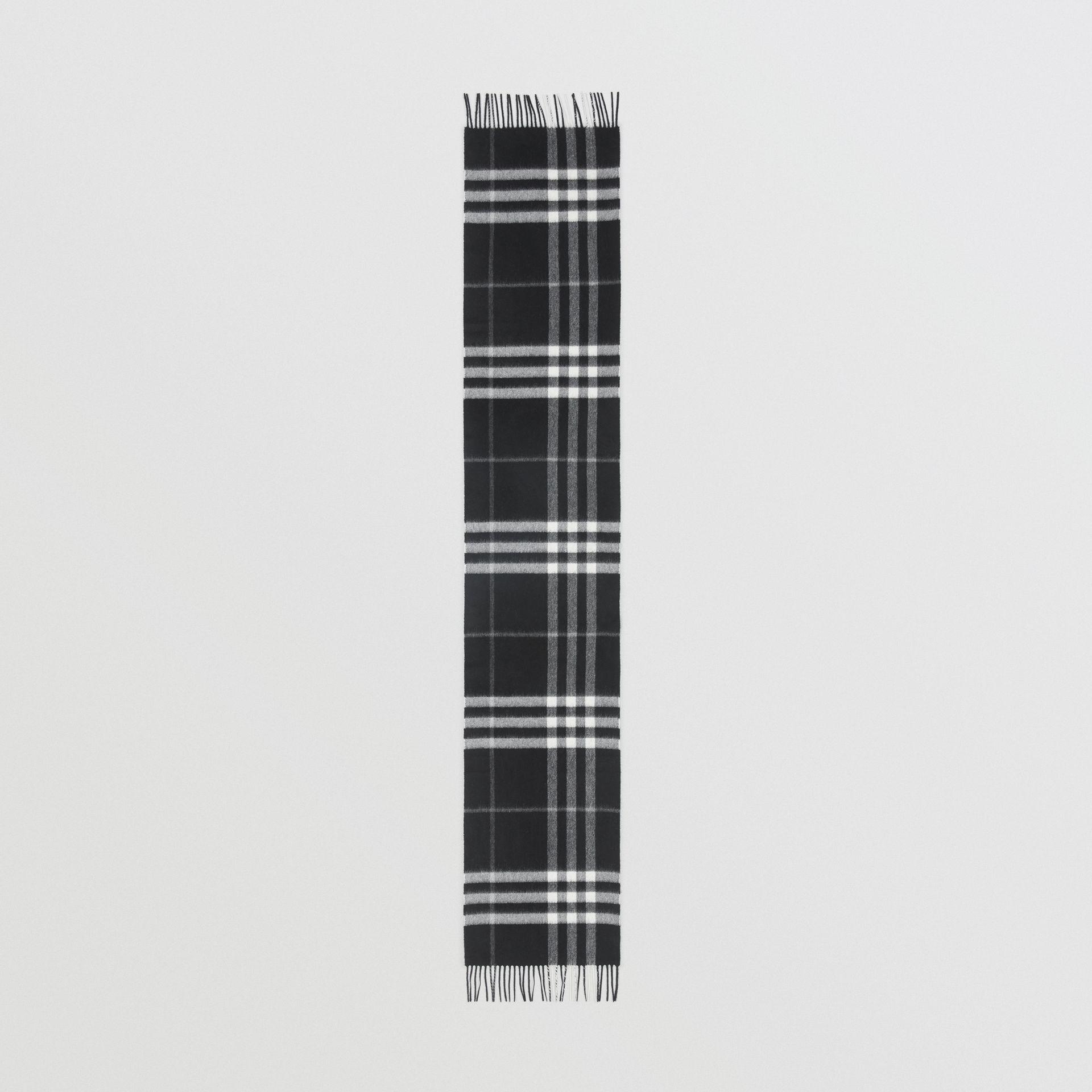 The Classic Check Cashmere Scarf in Black | Burberry Singapore - gallery image 3