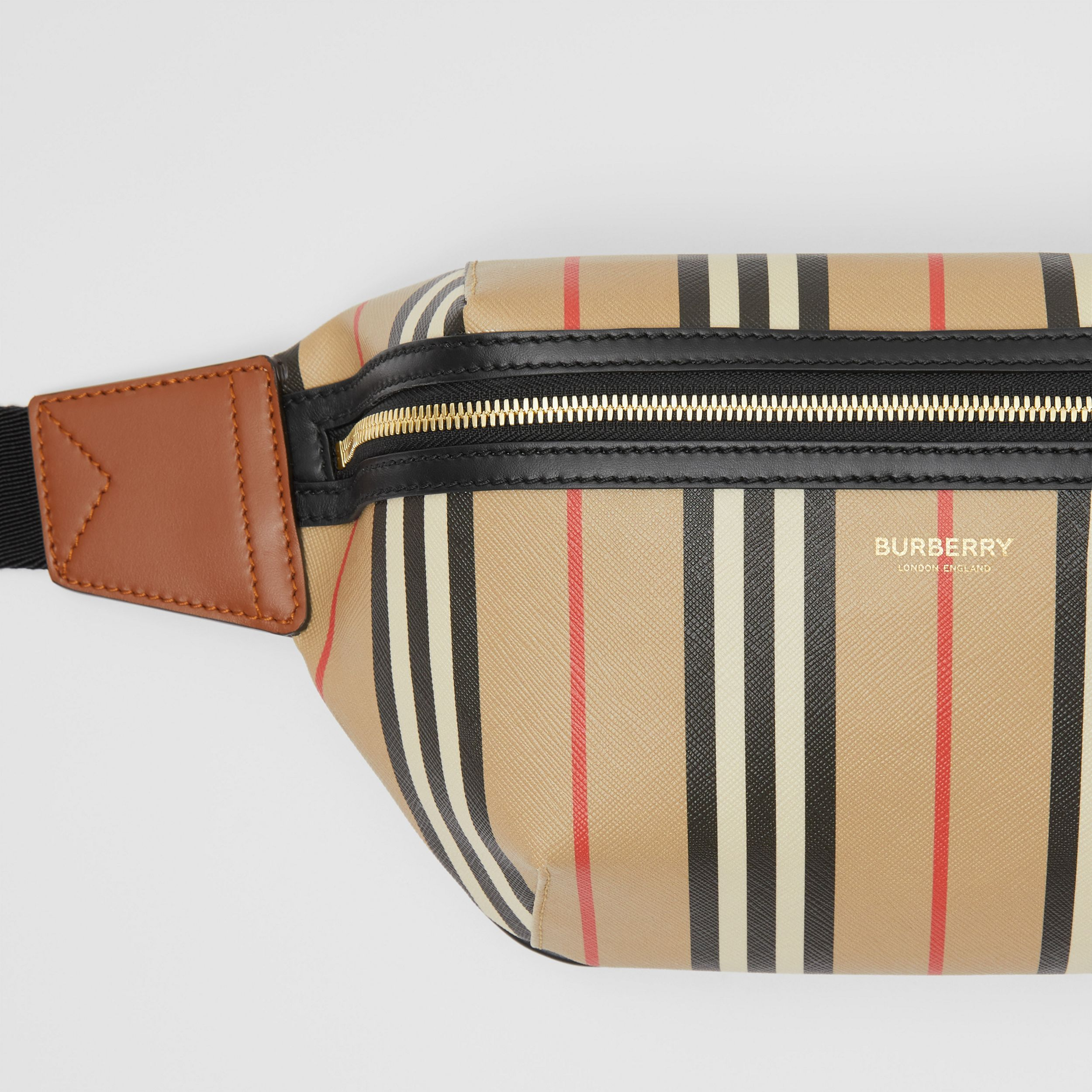 Icon Stripe E-canvas Sonny Bum Bag in Archive Beige | Burberry - 2