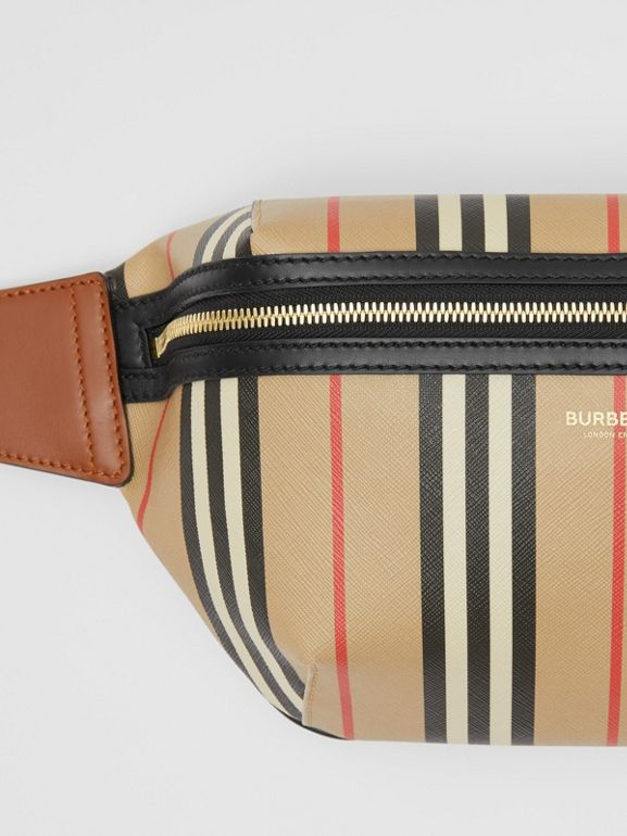 Icon Stripe E-canvas Sonny Bum Bag in Archive Beige | Burberry Hong Kong S.A.R - cell image 1