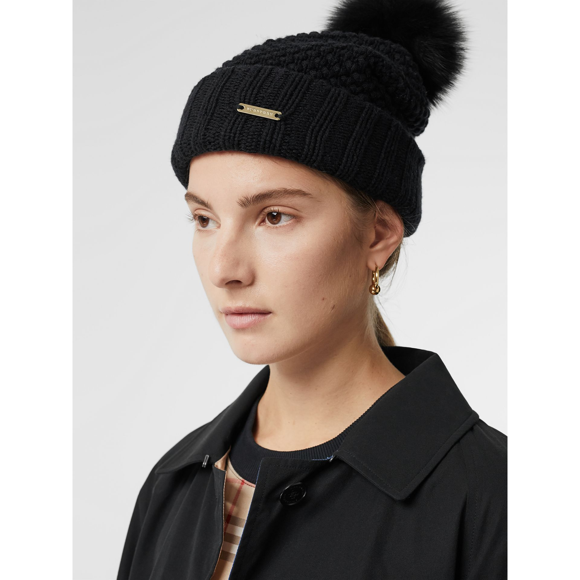 Fur Pom-Pom Beanie in Black - Women | Burberry United Kingdom - gallery image 2