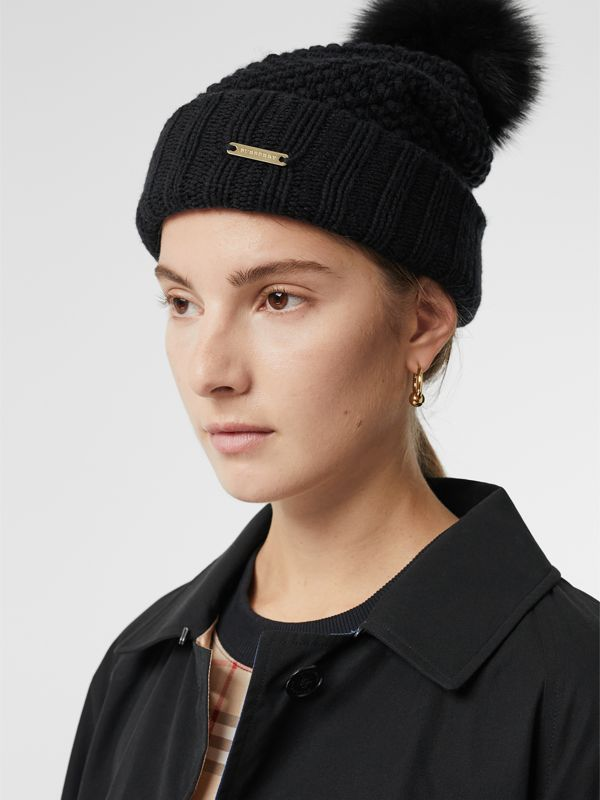Fur Pom-Pom Beanie in Black | Burberry Singapore - cell image 2