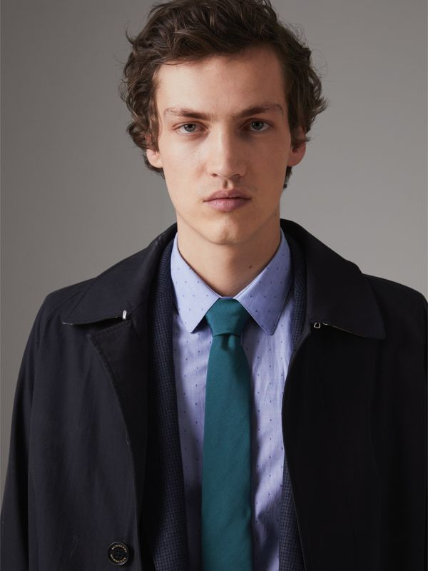 Modern Cut Check Detail Silk Tie in Mineral Blue - Men | Burberry Singapore - cell image 2