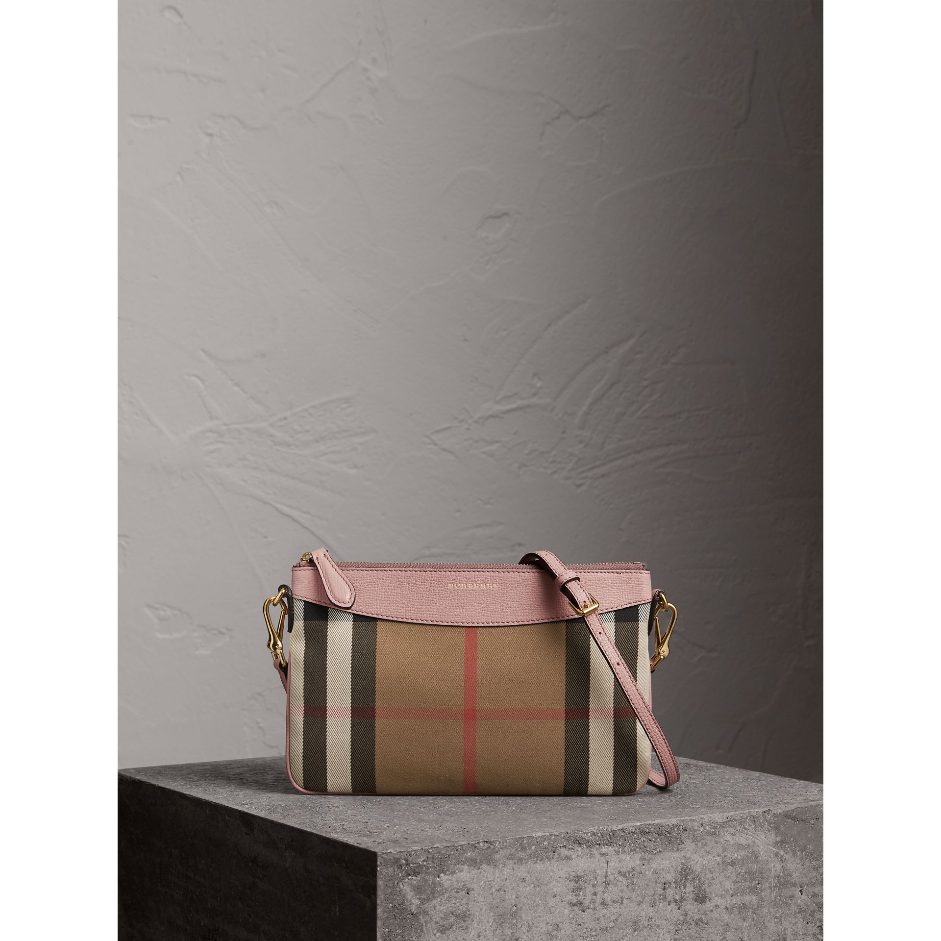 House Check and Leather Clutch Bag in Pale Orchid - Women | Burberry Singapore - gallery image 0