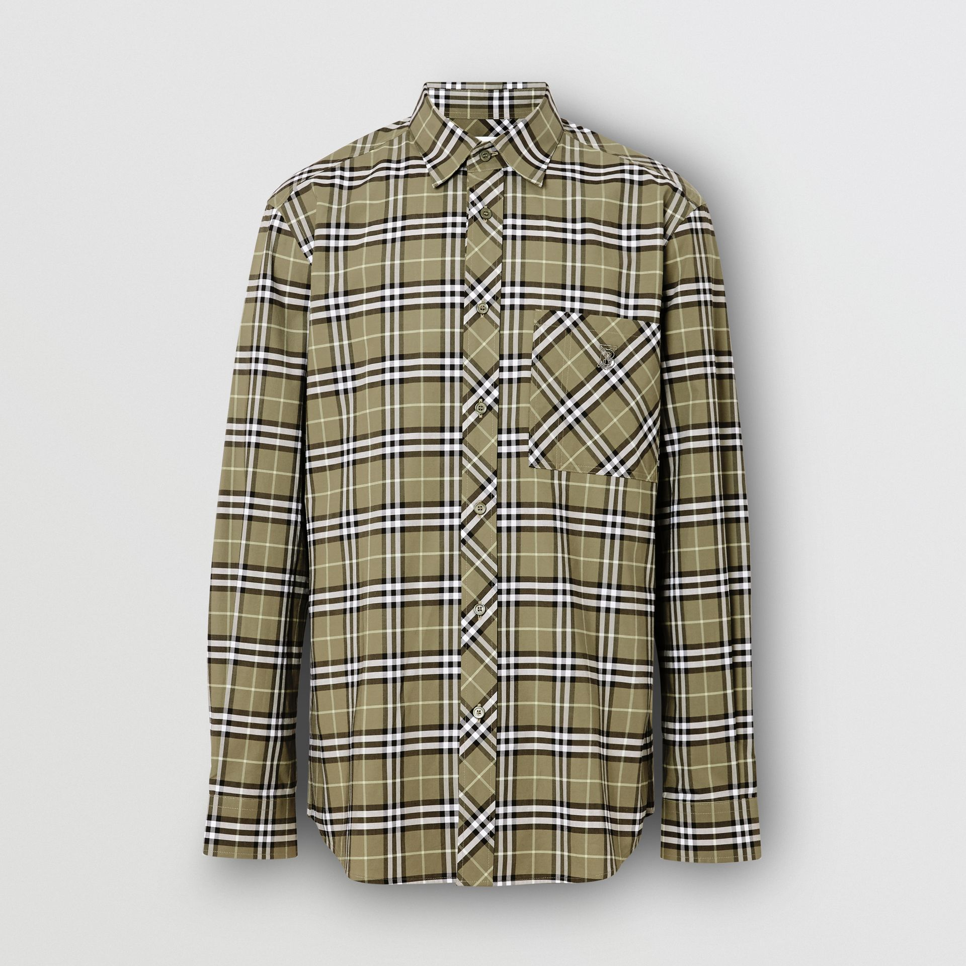 Small Scale Check Stretch Cotton Shirt in Chalk Green - Men | Burberry - gallery image 3