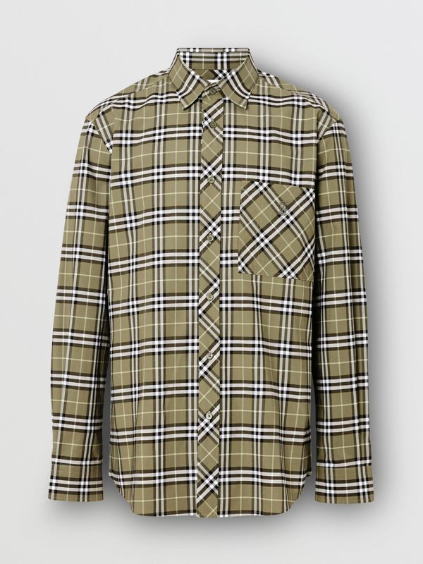 Small Scale Check Stretch Cotton Shirt in Chalk Green - Men | Burberry - cell image 3