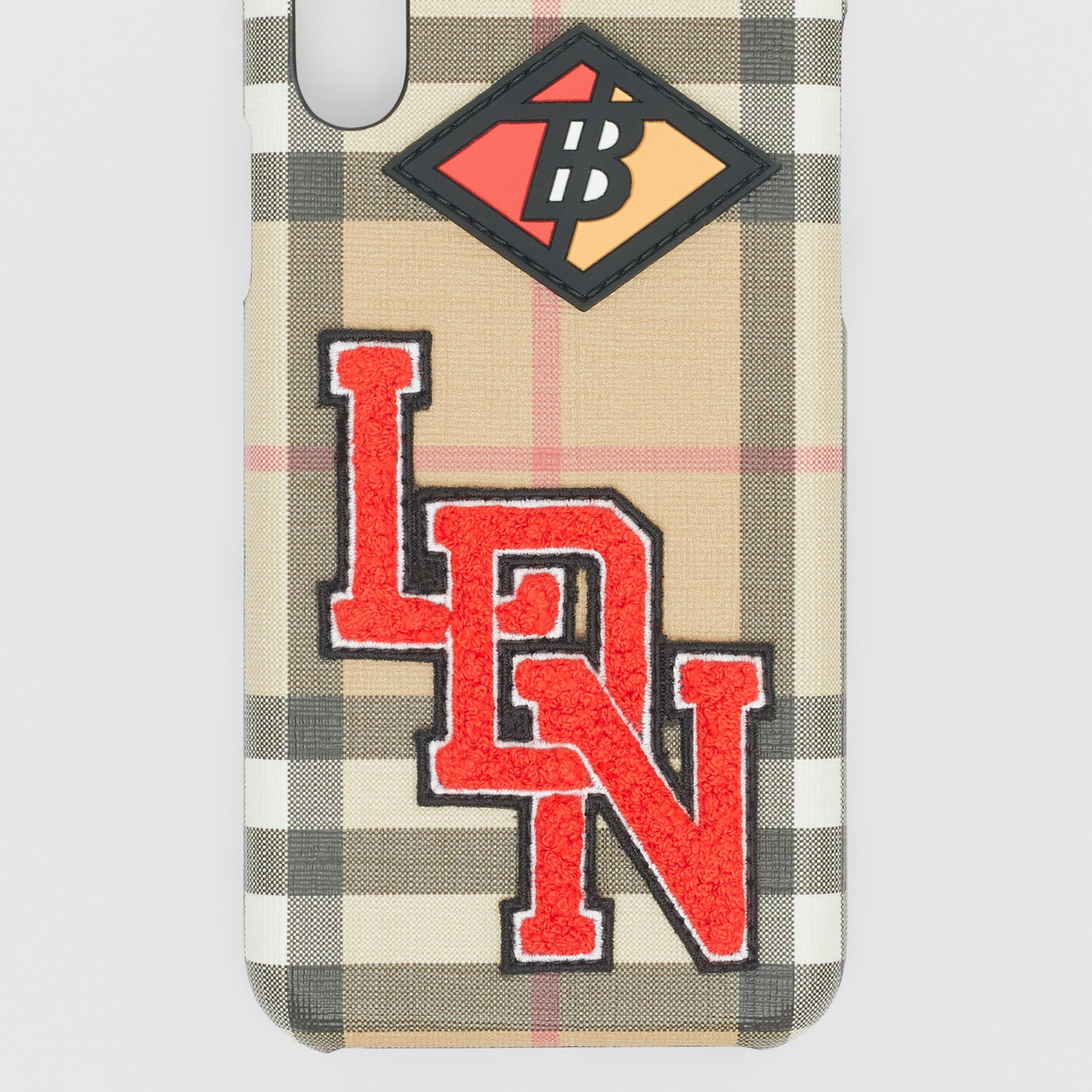 Logo Graphic Vintage Check iPhone X/XS Case in Archive Beige | Burberry Singapore - 2