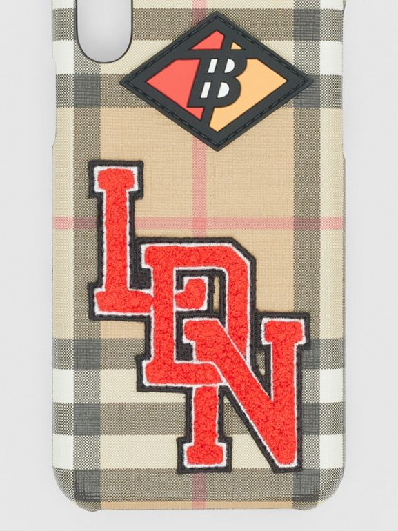 Logo Graphic Vintage Check iPhone X/XS Case in Archive Beige - Women | Burberry - cell image 1