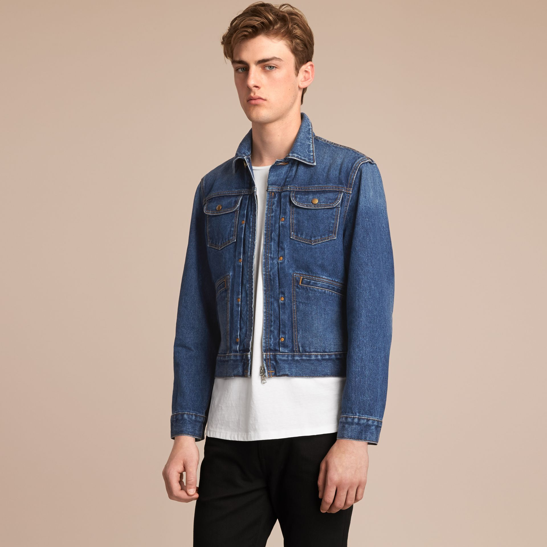 Zip-front Cropped Denim Jacket - Men | Burberry - gallery image 7