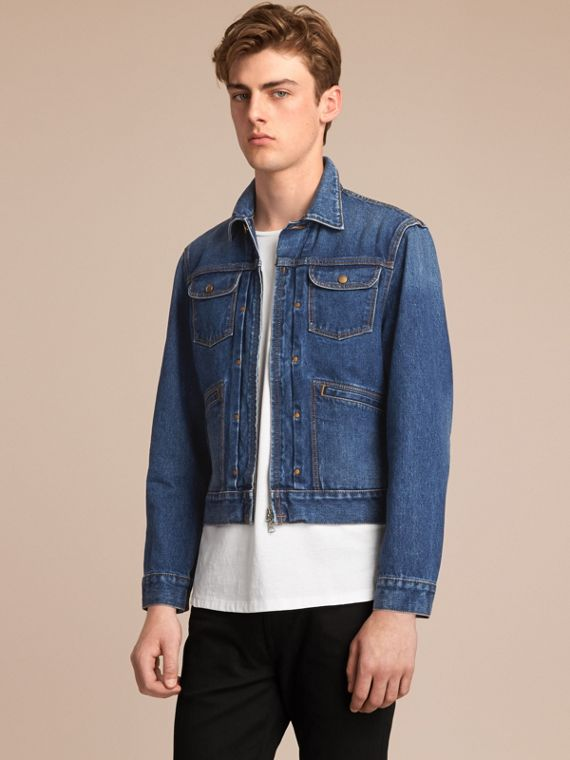 Zip-front Cropped Denim Jacket