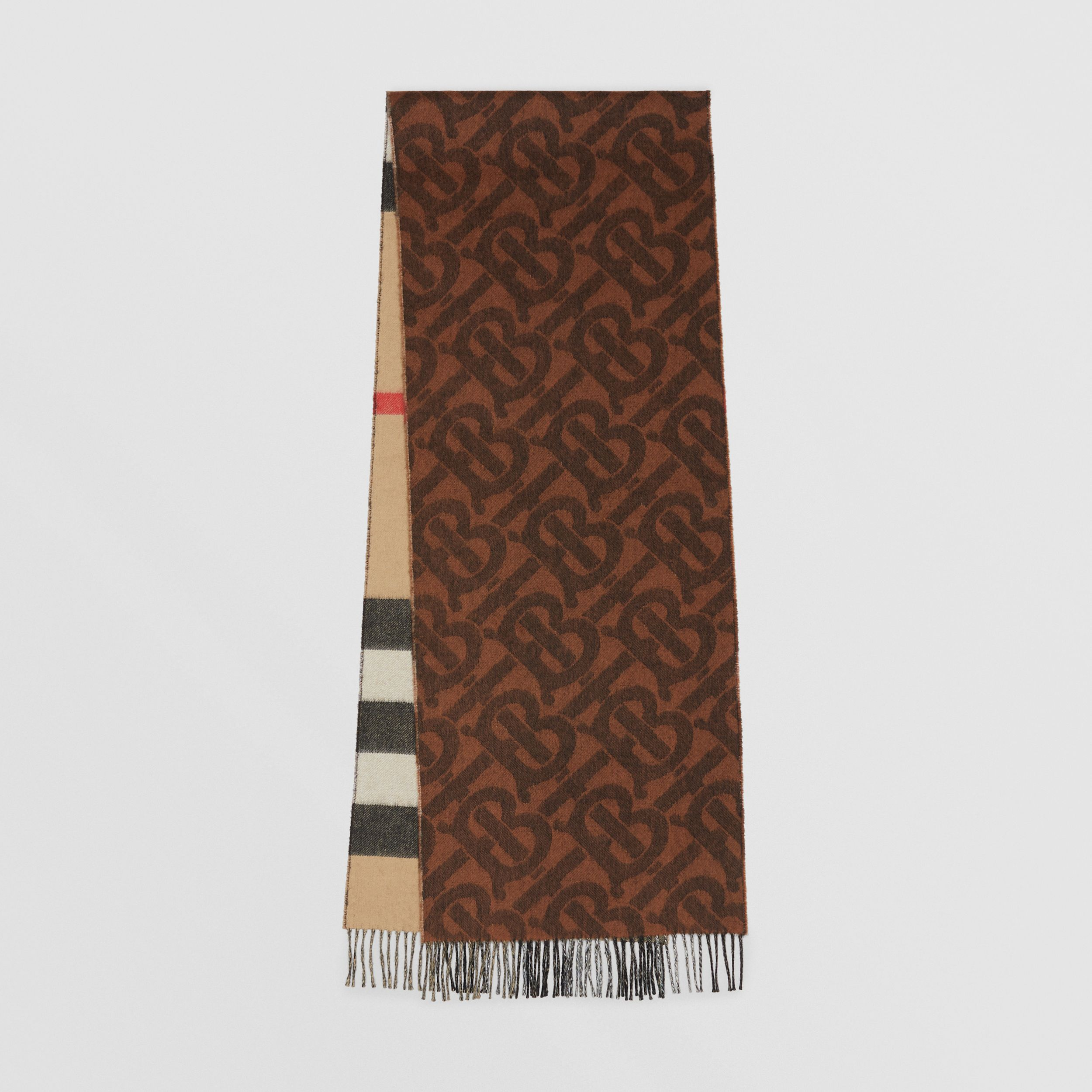 Reversible Check and Monogram Cashmere Scarf in Dark Chestnut Brown | Burberry - 1