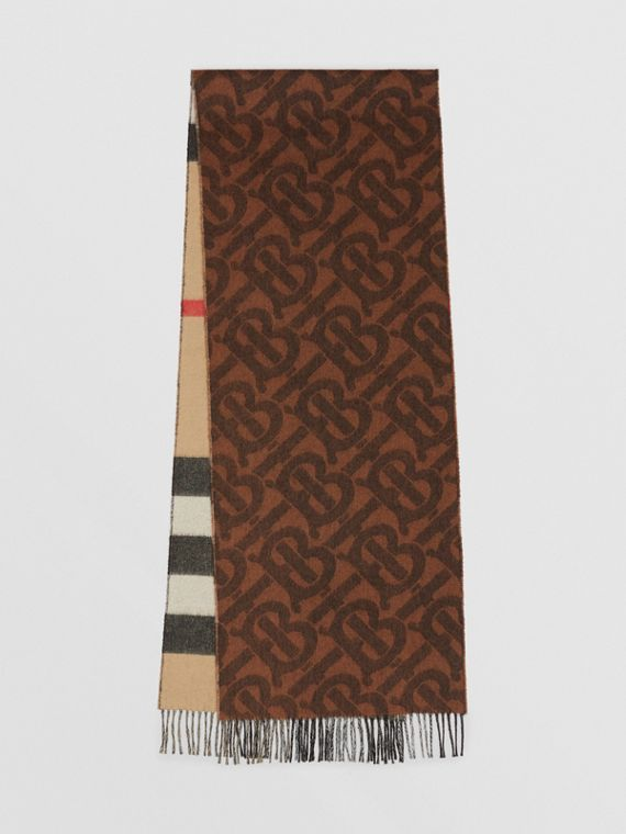 Reversible Check and Monogram Cashmere Scarf in Dark Chestnut Brown