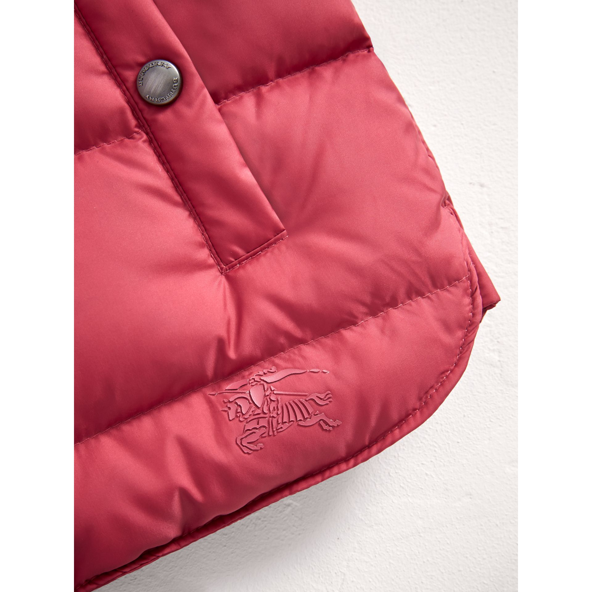 Hooded Down-filled Puffer Jacket with Mittens in Peony Rose | Burberry United Kingdom - gallery image 1