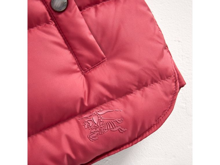 Hooded Down-filled Puffer Jacket with Mittens in Peony Rose | Burberry United Kingdom - cell image 1