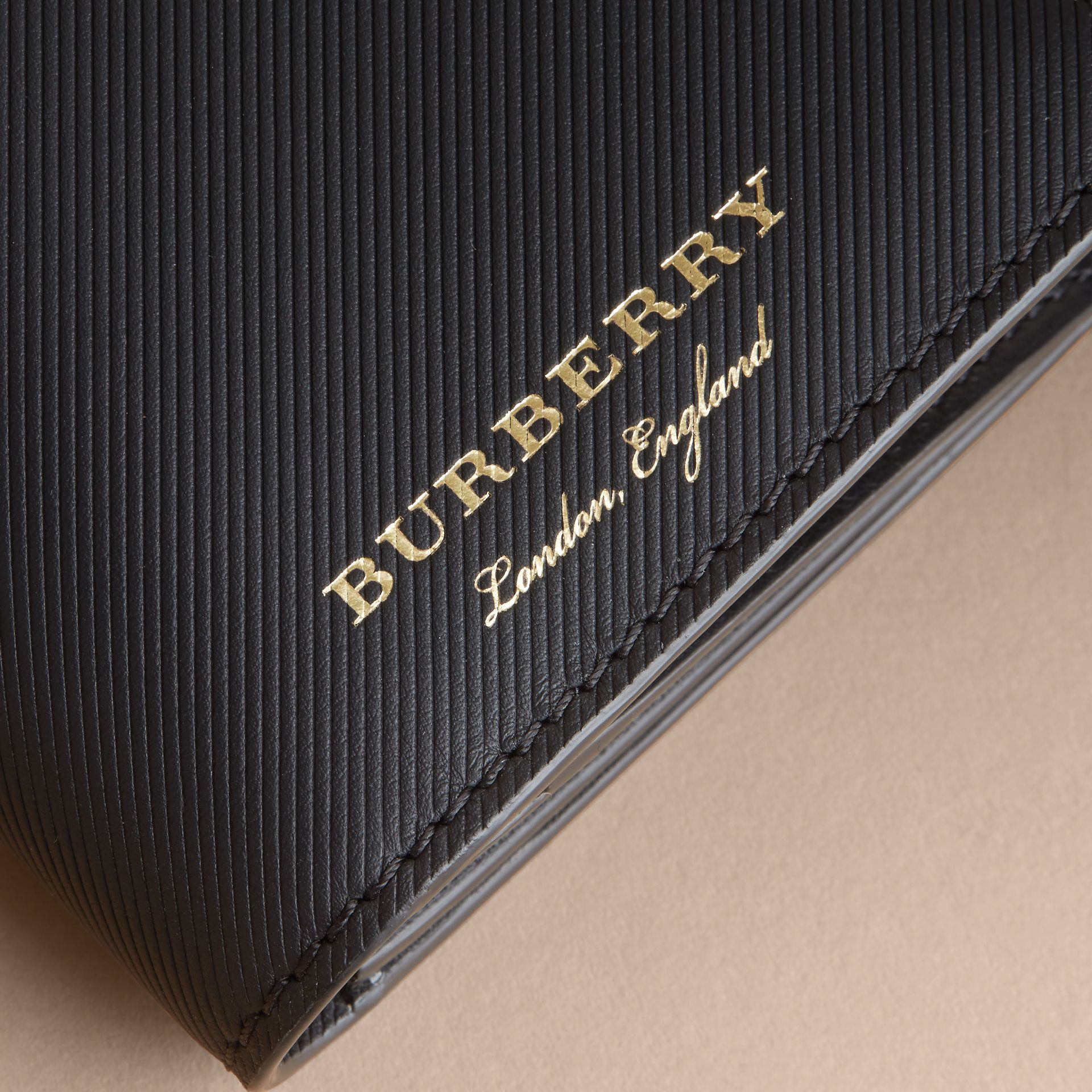 Trench Leather Continental Wallet in Black - Men | Burberry Canada - gallery image 2