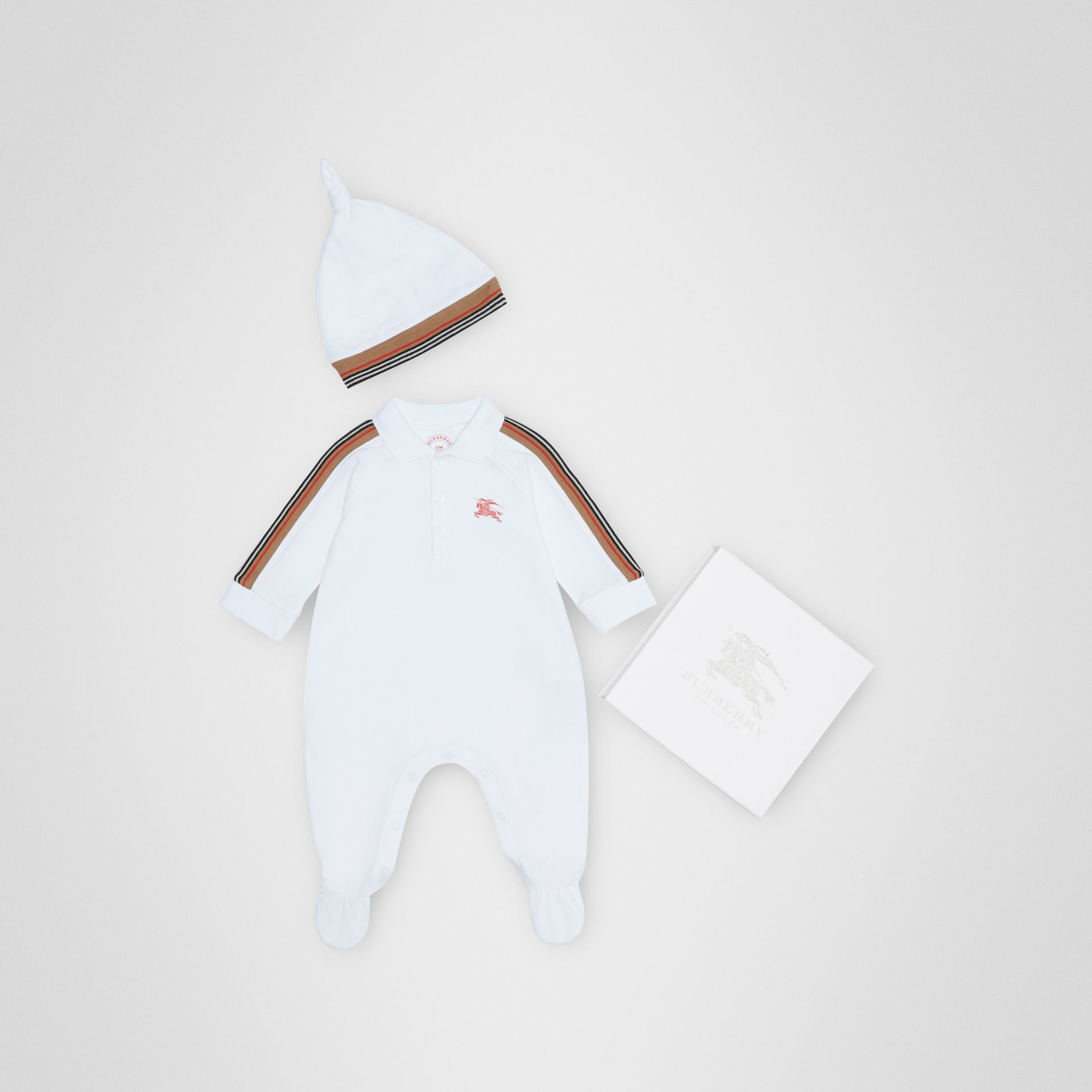 Icon Stripe Two-piece Baby Gift Set in White - Children | Burberry United States - gallery image 0