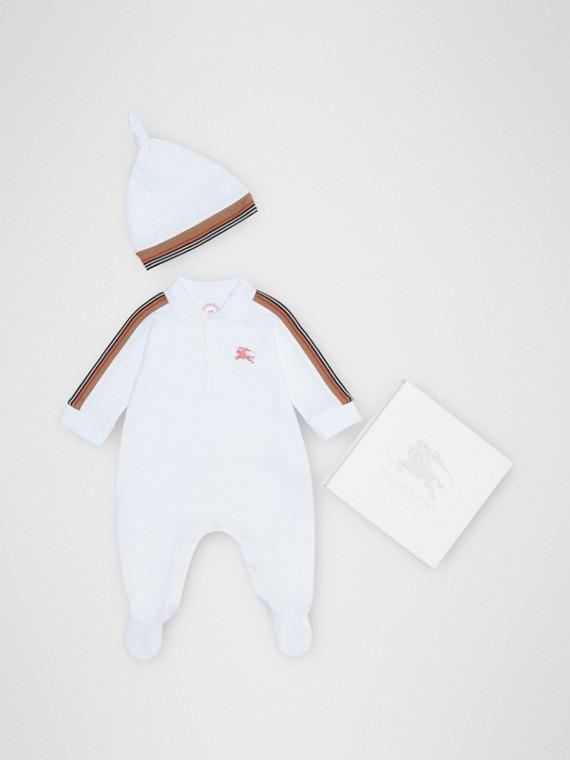 Zweiteiliges Baby-Geschenkset mit Streifendetail (Weiss)
