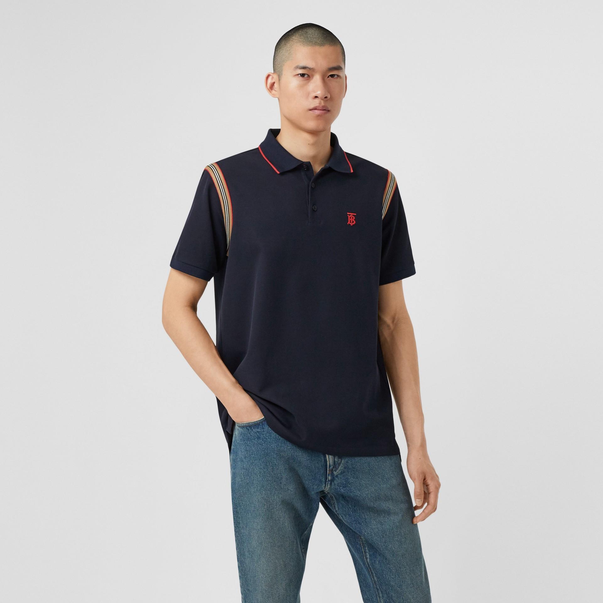アイコンストライプトリム モノグラムモチーフ コットン ポロシャツ (ネイビー) - メンズ | バーバリー - ギャラリーイメージ 4