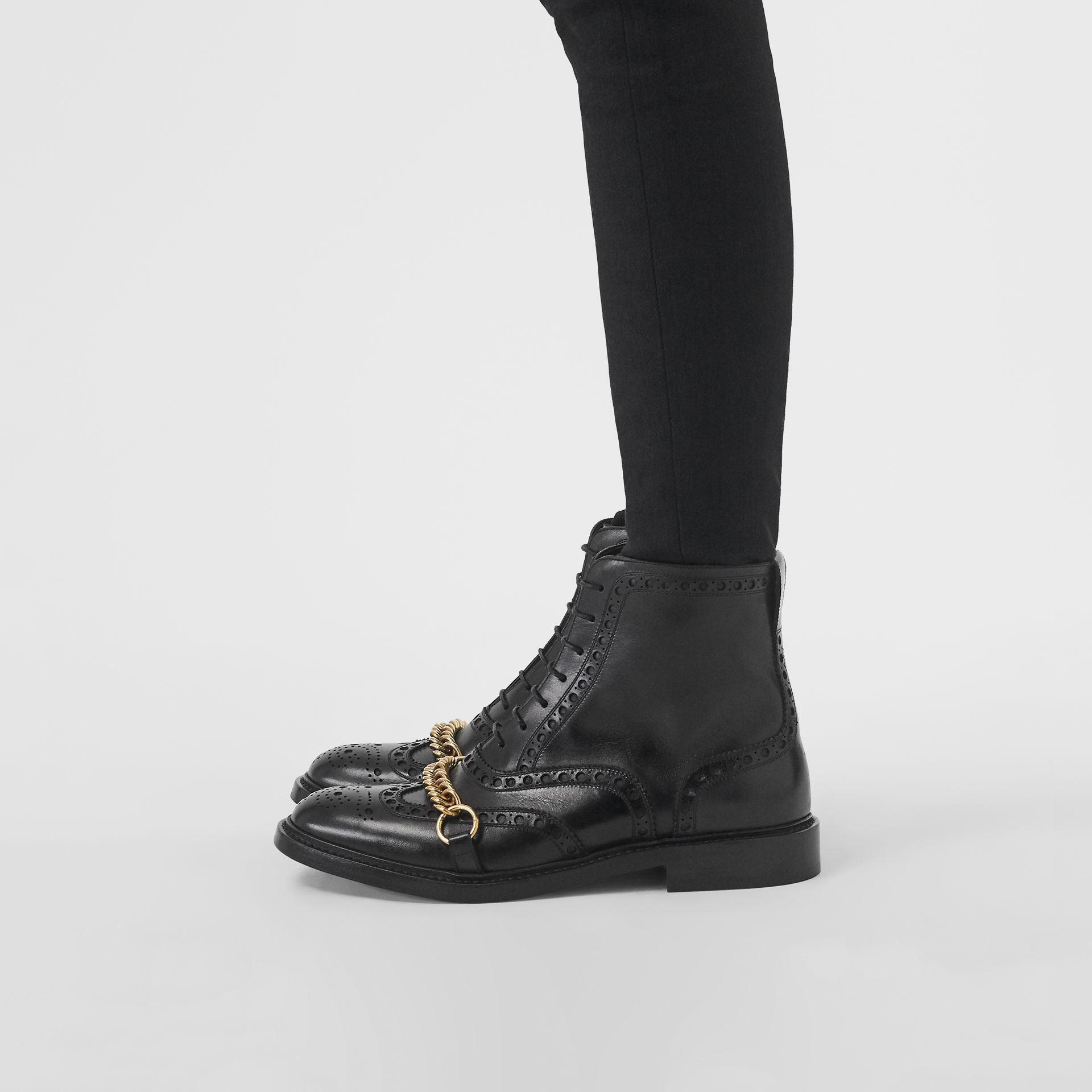 Link and Brogue Detail Leather Boots in Black - Women | Burberry - gallery image 2