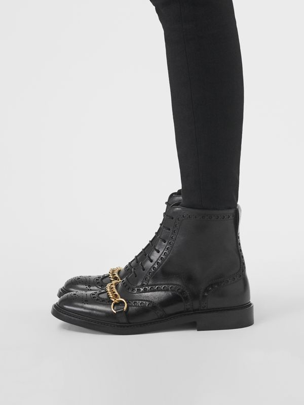 Link and Brogue Detail Leather Boots in Black - Women | Burberry - cell image 2
