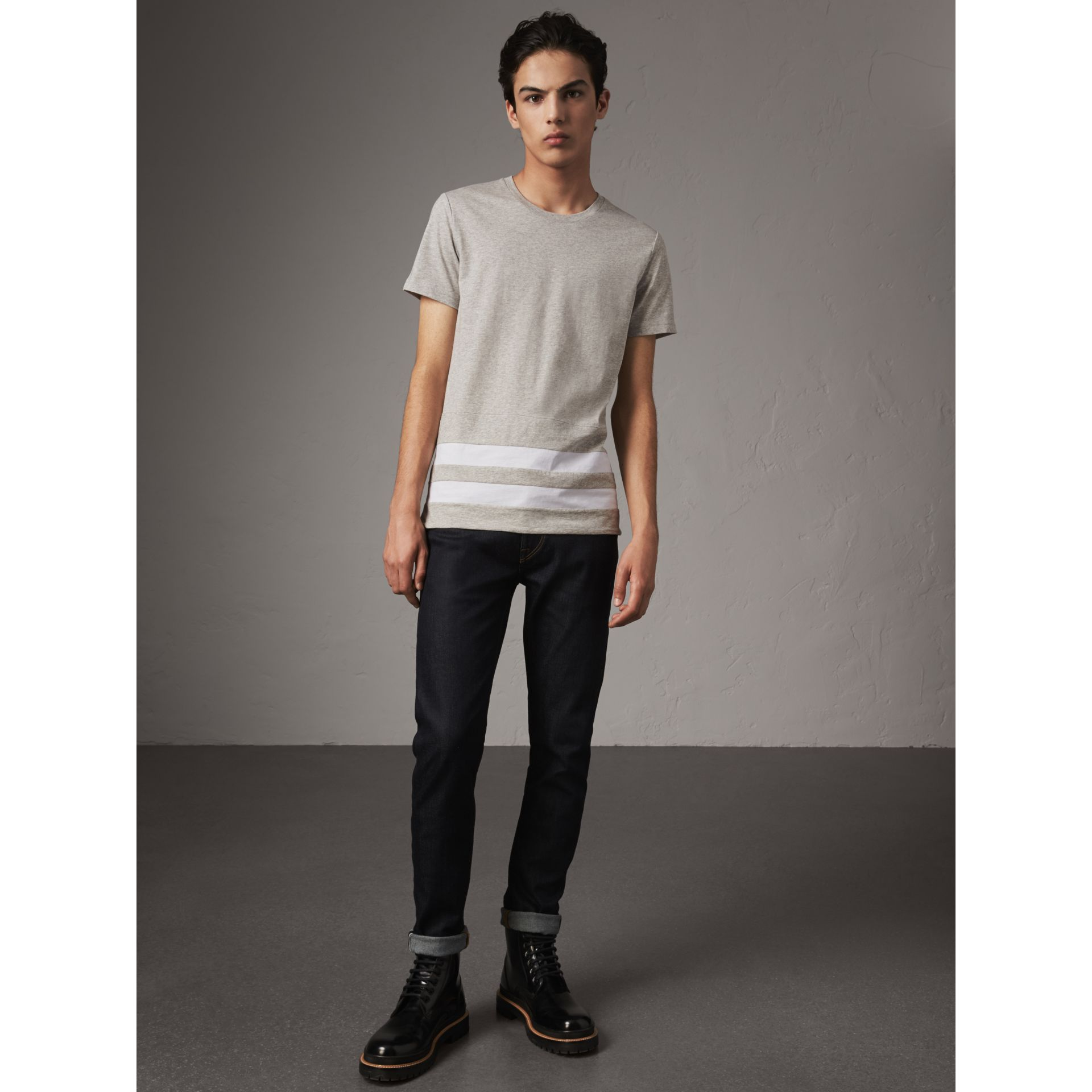 Striped Hem Cotton T-shirt in Pale Grey Melange - Men | Burberry - gallery image 5