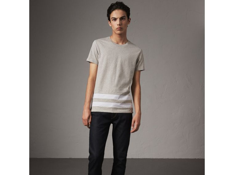 Striped Hem Cotton T-shirt in Pale Grey Melange - Men | Burberry - cell image 4