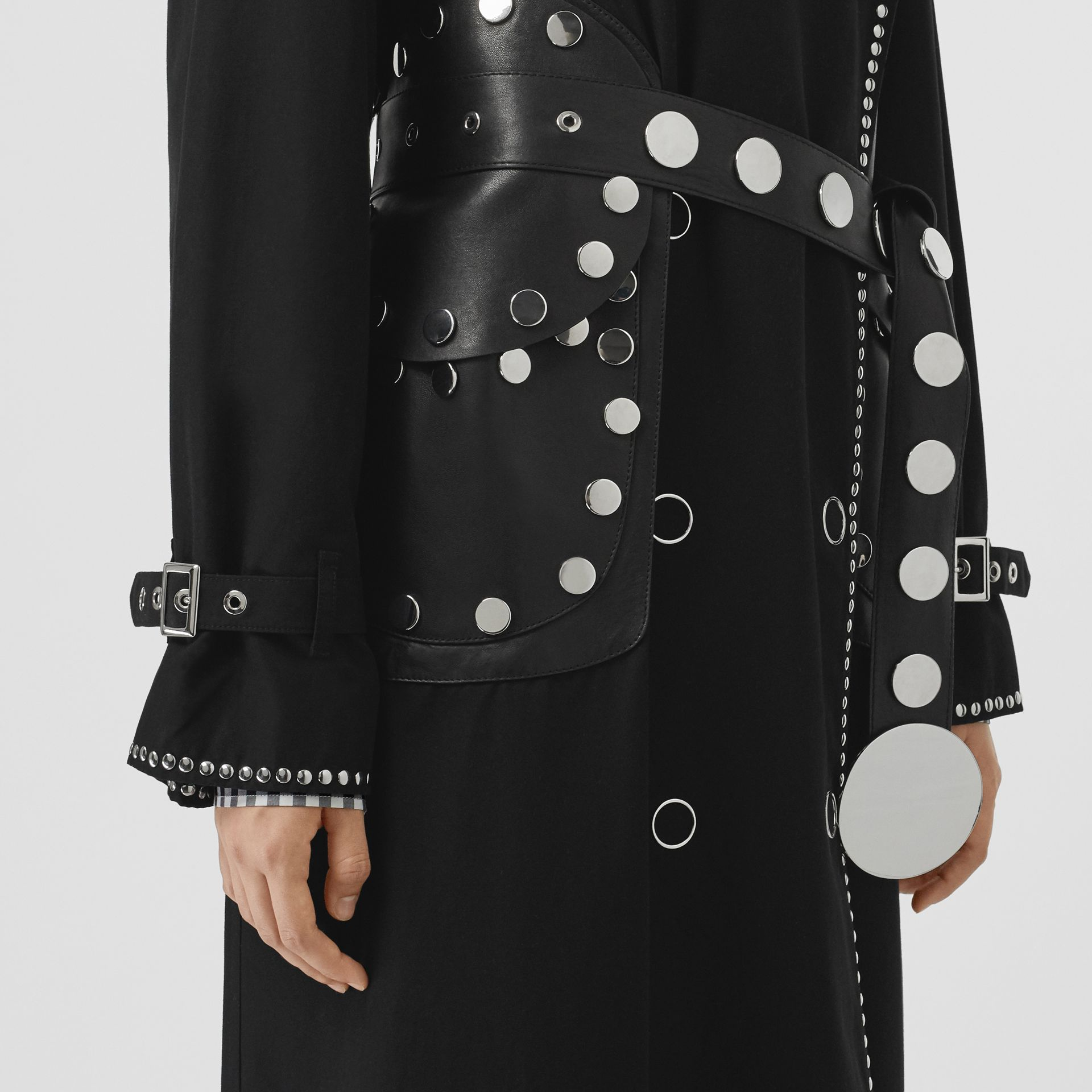 Lambskin Detail Studded Cotton Gabardine Trench Coat in Black - Women | Burberry - gallery image 7