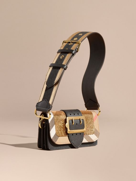 Borsa The Buckle piccola con paillettes e motivo House check