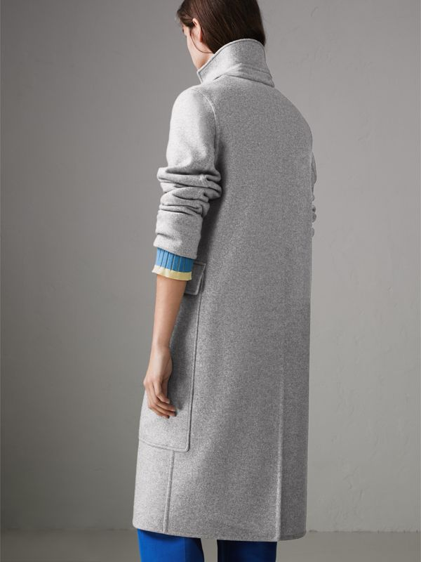 Check Collar Cashmere Coat in Pale Grey Melange - Women | Burberry - cell image 2