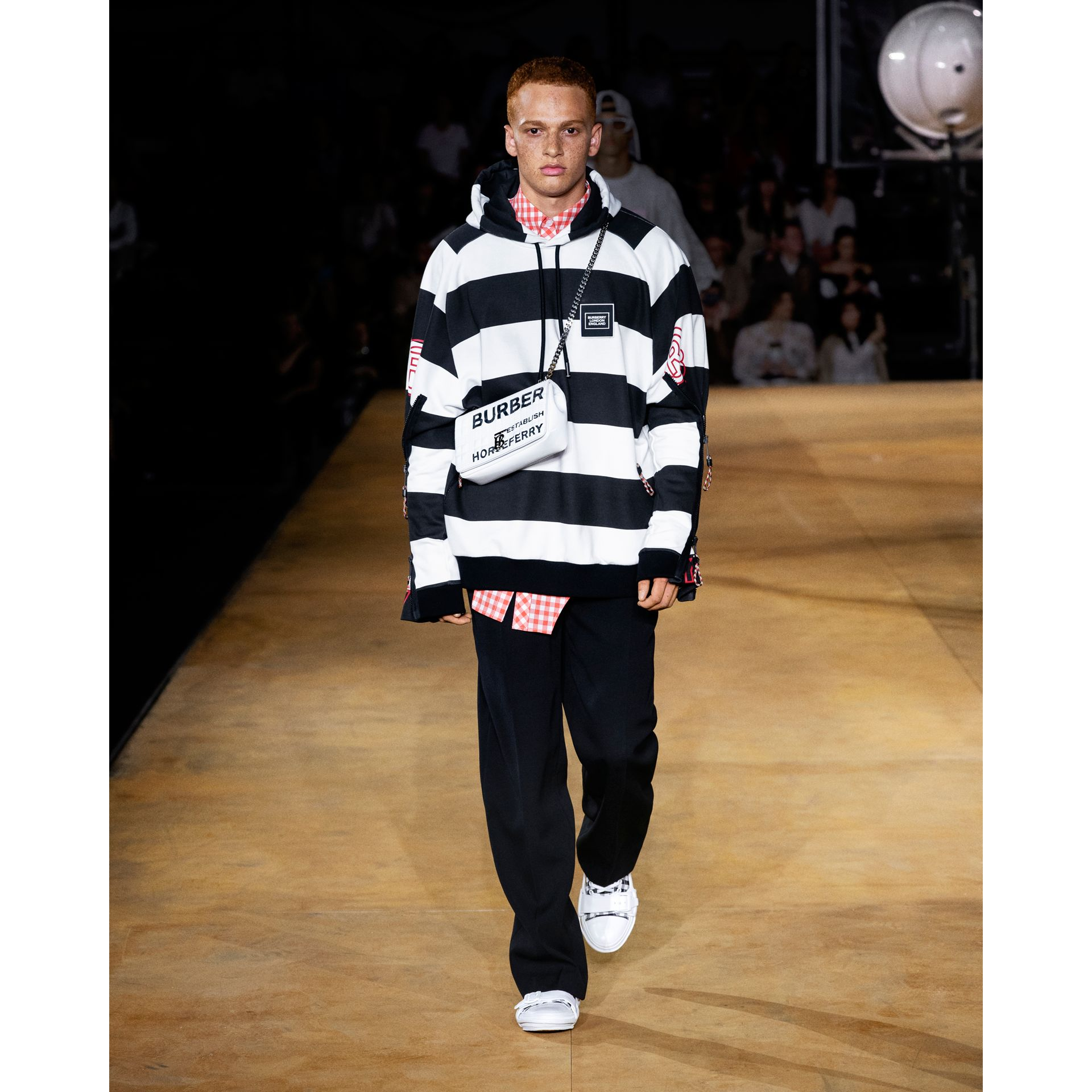Zip Detail Logo Print Striped Cotton Hoodie in Black/white | Burberry - gallery image 7