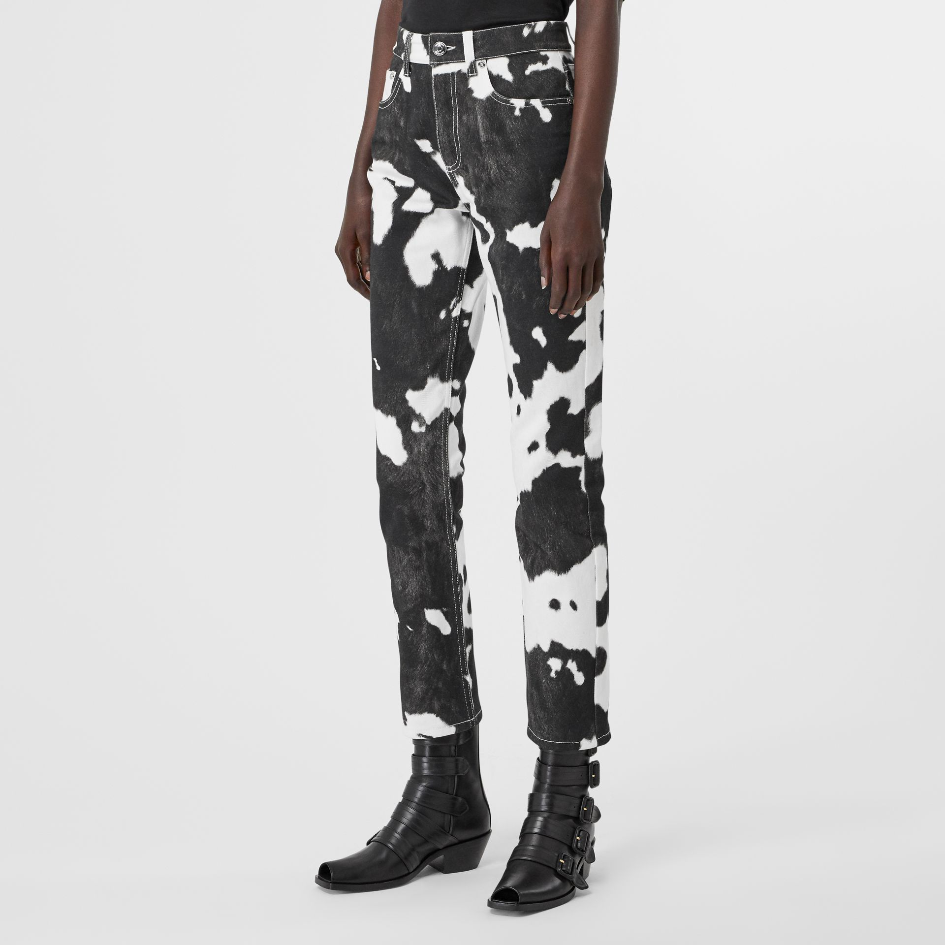 Straight Fit Cow Print Jeans in Black - Women | Burberry United Kingdom - gallery image 5