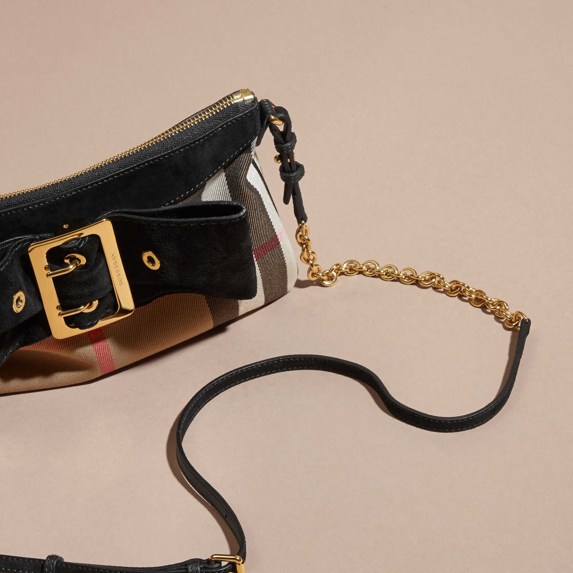 House Check Clutch Bag with Suede Buckled Bow - gallery image 8
