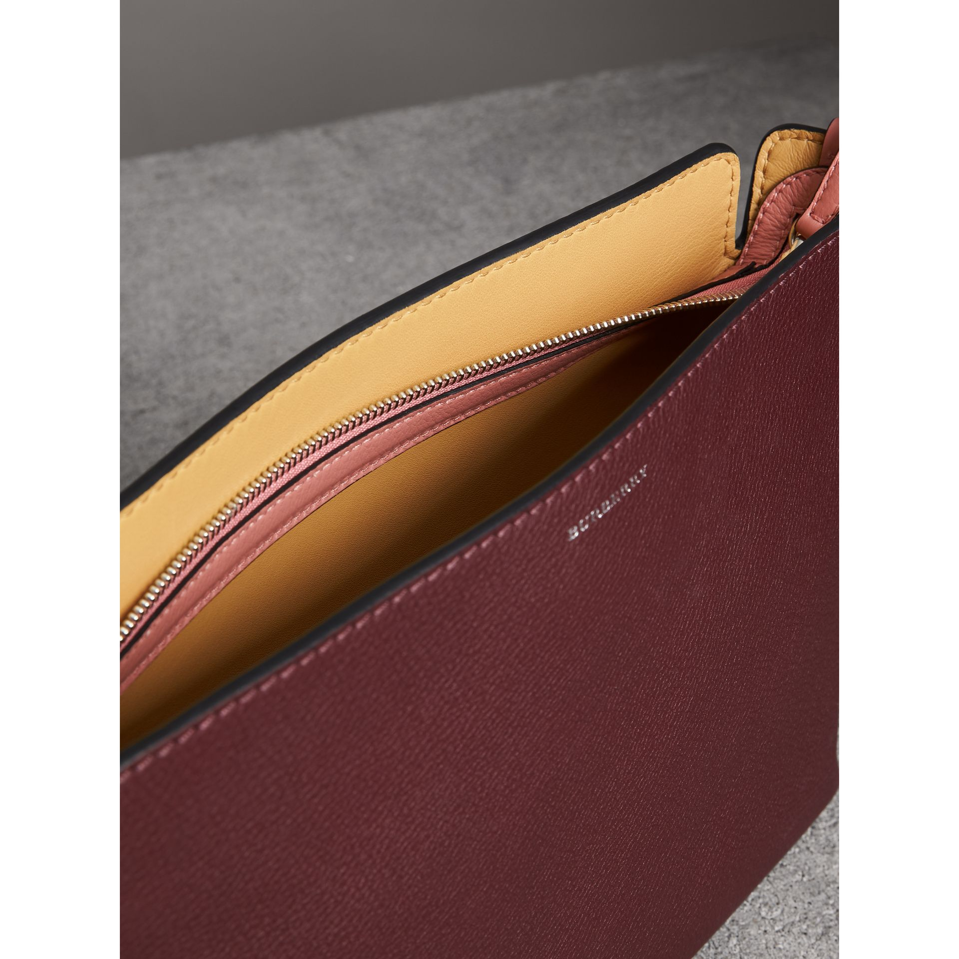 Medium Tri-tone Leather Clutch in Deep Claret/dusty Rose | Burberry - gallery image 5