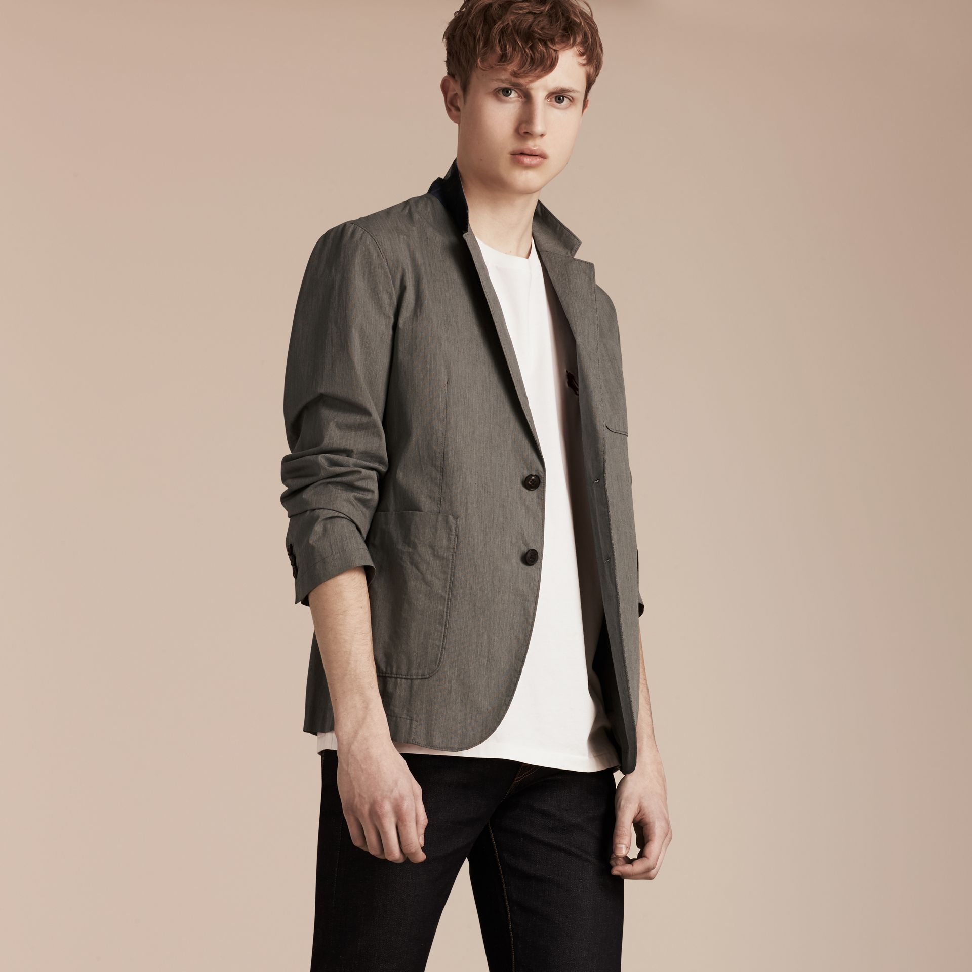 Dark grey Cotton Tailored Jacket - gallery image 7