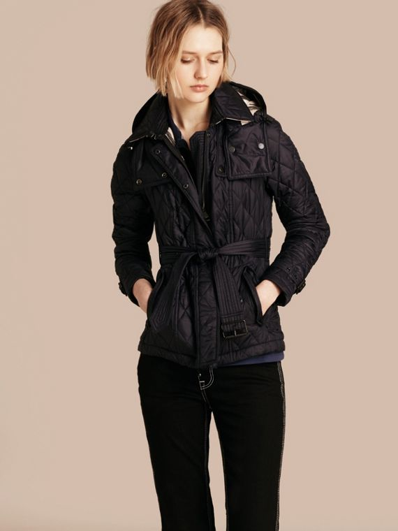 Quilted Trench Jacket with Detachable Hood Ink