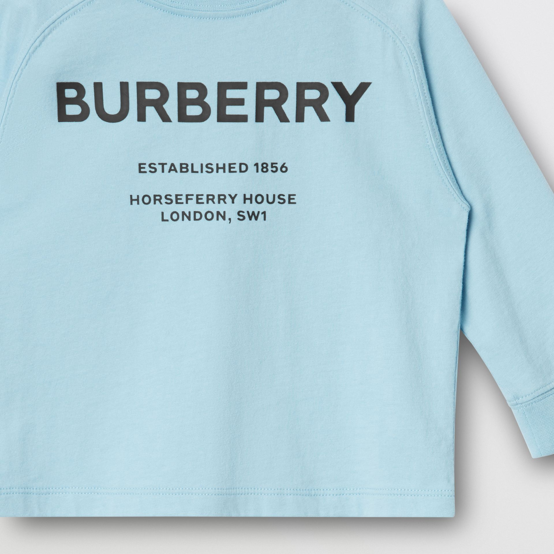 Long-sleeve Horseferry Print Cotton Top in Powder Blue - Children | Burberry - gallery image 5