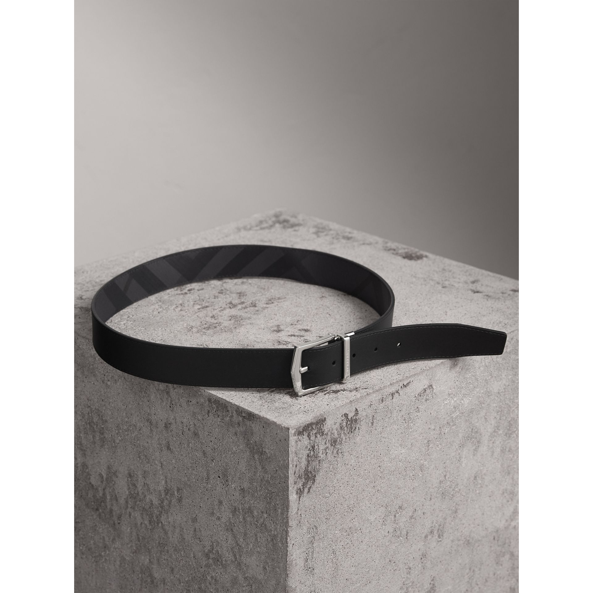 Reversible London Check and Leather Belt in Charcoal/black - Men | Burberry Australia - gallery image 6