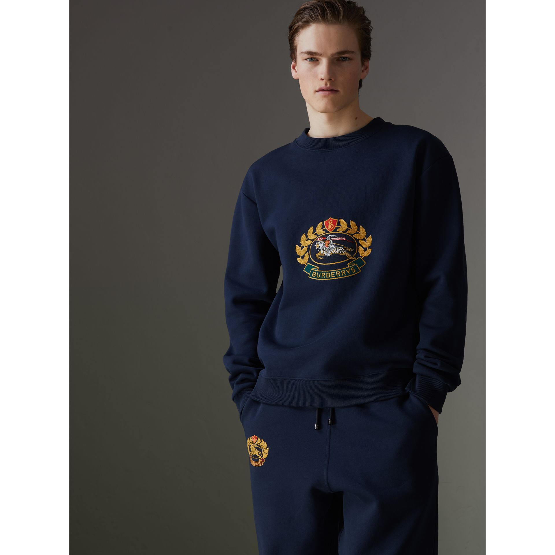 Sweat-shirt en jersey revisité (Bleu Foncé) - Homme | Burberry - photo de la galerie 4