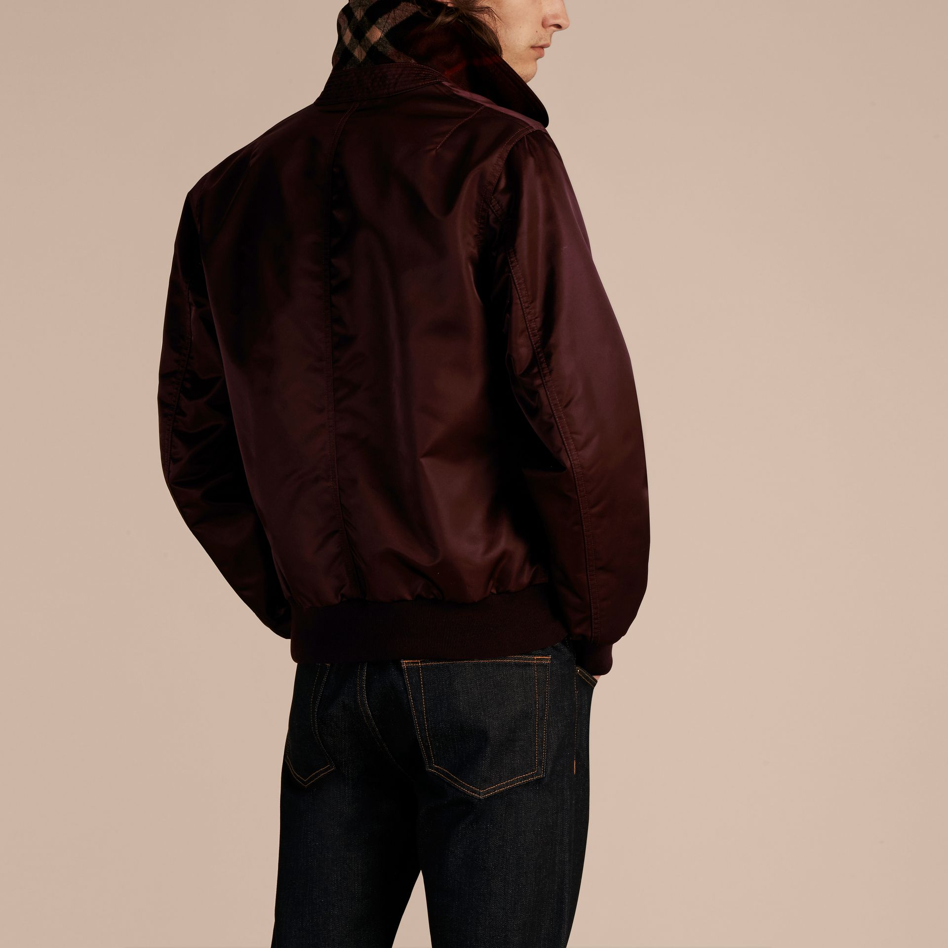 Satin Bomber Jacket with Check Undercollar in Dark Elderberry - gallery image 3