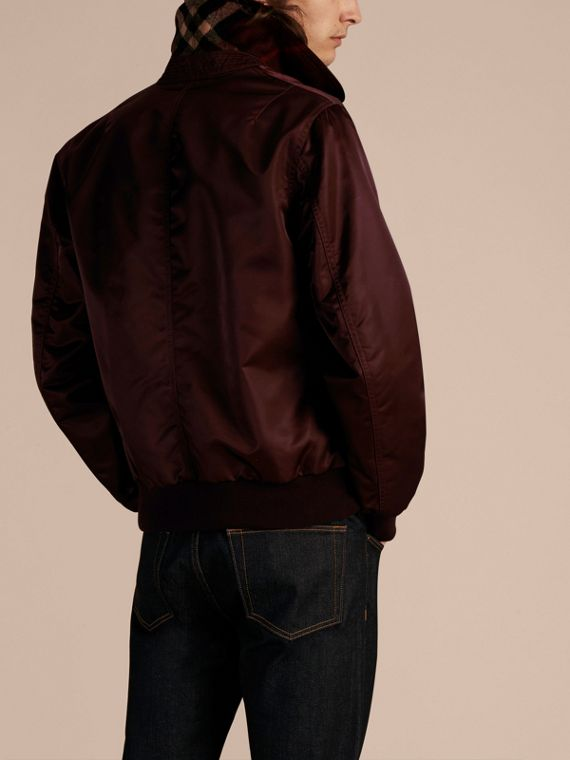 Satin Bomber Jacket with Check Undercollar Dark Elderberry - cell image 2