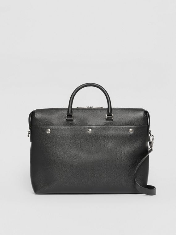 Triple Stud Grainy Leather Briefcase in Black