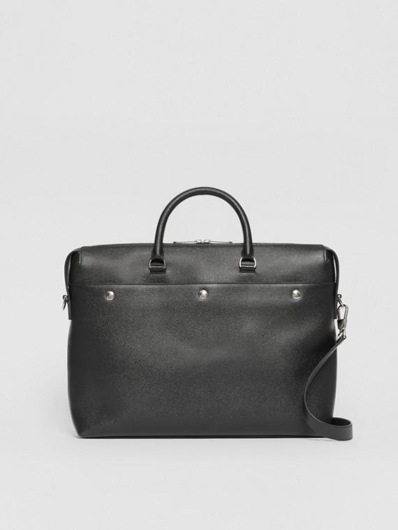 Кожаный портфель с тройной застежкой на кнопки (Черный)