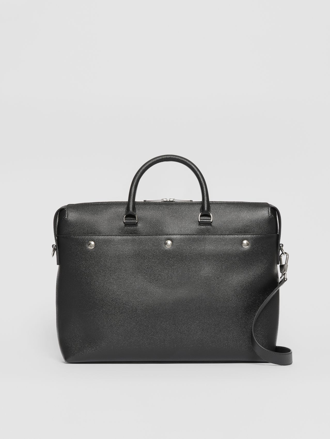 Triple Stud Grainy Leather Briefcase (Black)