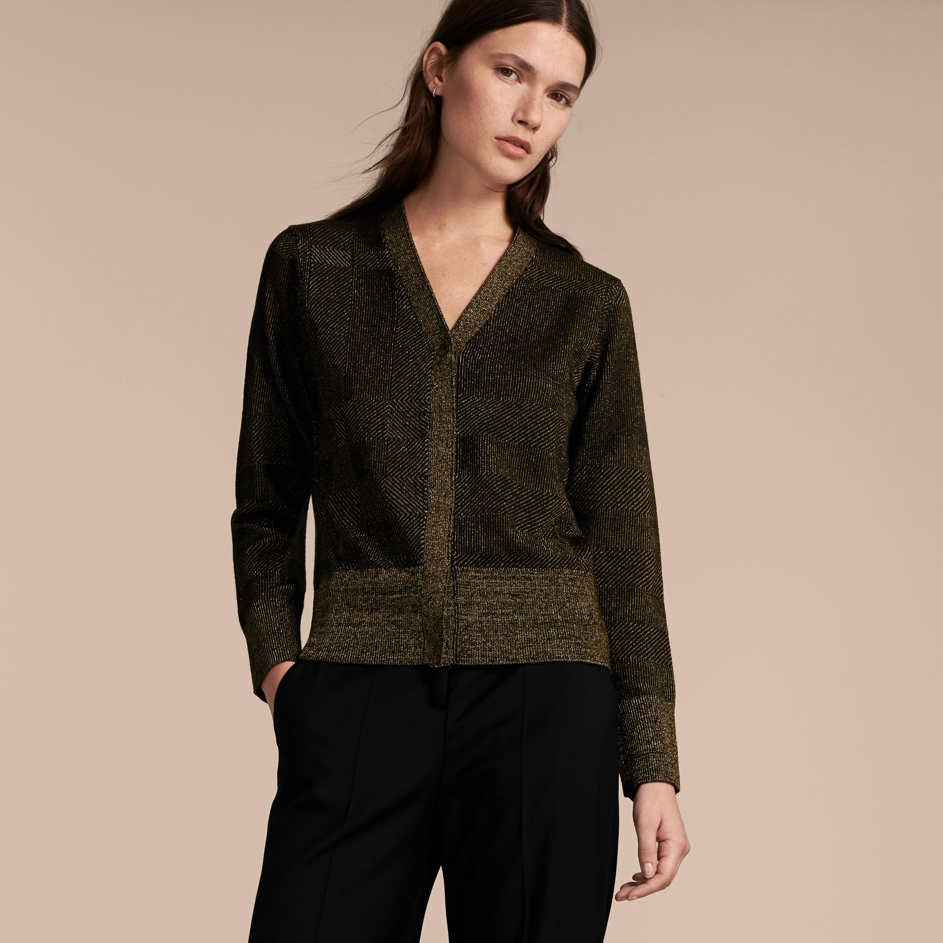 Check Merino Wool and Metallic Cardigan - gallery image 6
