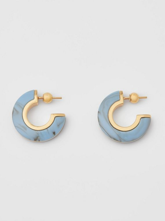 Brincos de argola de resina marmoreada folheados a ouro (Dourado Claro/azul Robin)